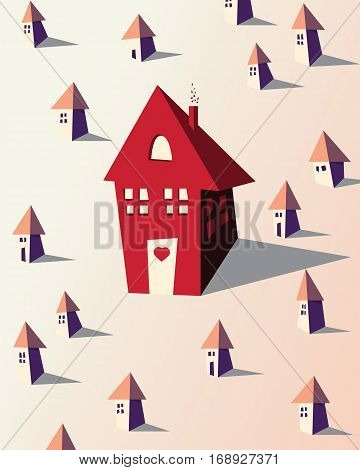 Vector concept home illustration with big red house. City Illustration for posters greeting card flyer brochure advertisement