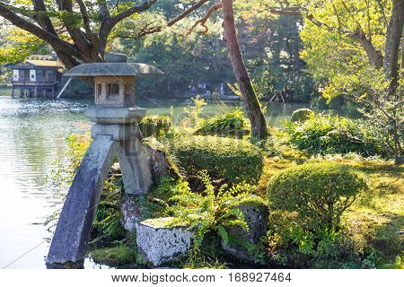 Traditional Japanese garden and stone lantern