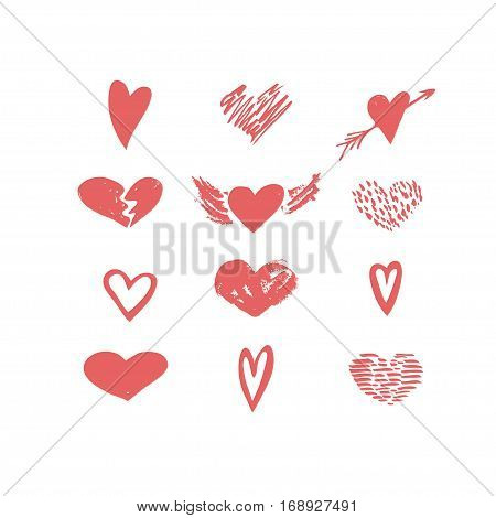 Vector hand drawn hearts icon set. Love valentine wedding relationship holiday theme. Red isolated icons for polygraphy web design logo app UI.