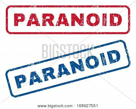Paranoid text rubber seal stamp watermarks. Vector style is blue and red ink caption inside rounded rectangular banner. Grunge design and scratched texture. Blue and red emblems.