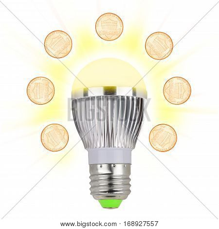 Glowing Led light bulb with penny coins on a white. Energy and money saving concept.