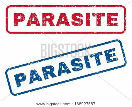 Parasite text rubber seal stamp watermarks. Vector style is blue and red ink caption inside rounded rectangular shape. Grunge design and unclean texture. Blue and red signs.
