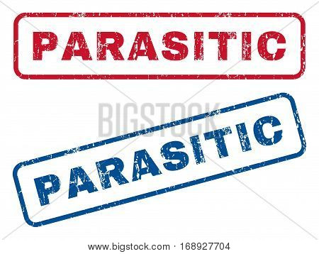 Parasitic text rubber seal stamp watermarks. Vector style is blue and red ink tag inside rounded rectangular banner. Grunge design and dirty texture. Blue and red stickers.