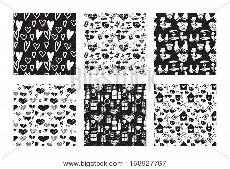 Vector set of seamless hand drawn patterns. Love romance valentines wedding couple relationship theme. Black and white patterns for textile paper book game cards banner web design.