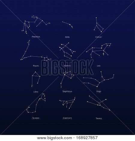 Vector set of zodiac constellation on night sky. Isolated star icon for polygraphy web design logo app UI.