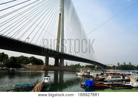 Beautiful Ada bridge in Belgrade -  Serbia poster