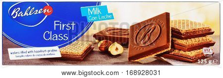 Top View Of Bahlsen First Class Milk Chocolate Wafer Isolated On White