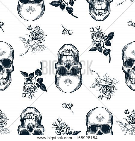 Grunge seamless pattern with monochrome human skulls in woodcut style and black and white wild roses on background. Vector illustration for wallpaper, textile print, wrapping paper.