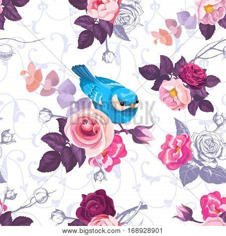 Floral seamless pattern with colorfull bunches of roses and cute little bird on background. Vector illustration in retro style for wallpaper, textile print, wrapping paper.