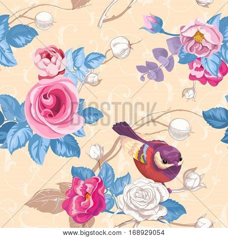 Floral seamless pattern with colorfull bunches of roses and cute blue bird on background. Vector illustration in retro style for wallpaper, textile print, wrapping paper.