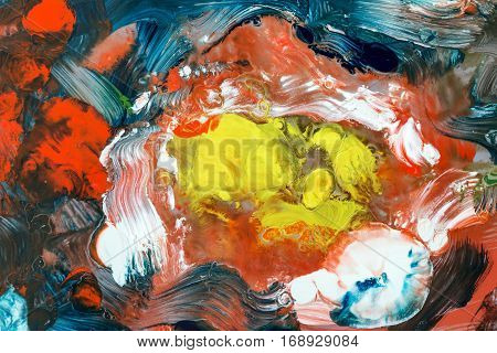 Abstract image of the flowing colors - tangle of runs colors and brush strokes