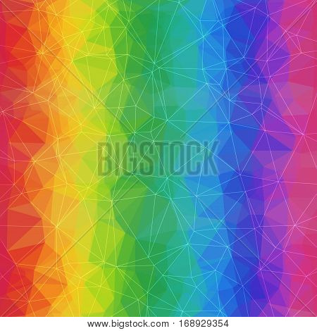 Geometric Rainbow Background of Asymmetric Triangles Grid. Abstract Rainbow Texture.