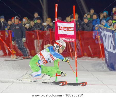 STOCKHOLM SWEDEN - JAN 31 2017: Ana Bucik (SLO) in the parallel slalom downhill skiing at the Alpine Audi FIS Ski World Cup. January 31 2017 Stockholm Sweden