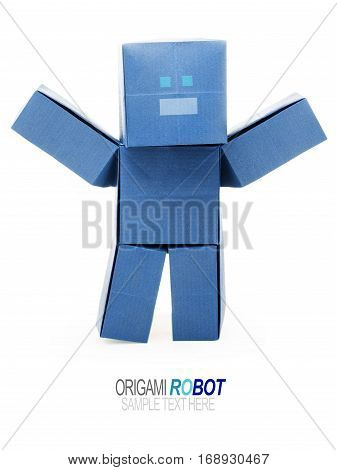 Paper origami robot chatbot chat bot or chatterbot on a white background