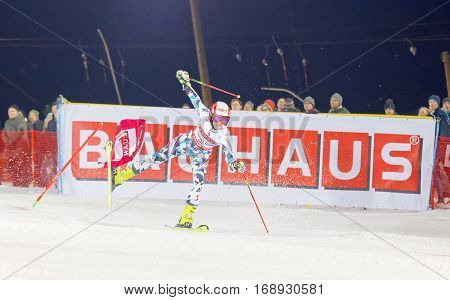 STOCKHOLM SWEDEN - JAN 31 2017: Katharina Truppe (AUT) close to falling in the downhill skiing in the parallel slalom alpine event Audi FIS Ski World Cup. January 31 2017 Stockholm Sweden