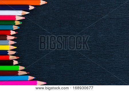Black Background For Presentations With Vertical Round Colourful Pencil Border