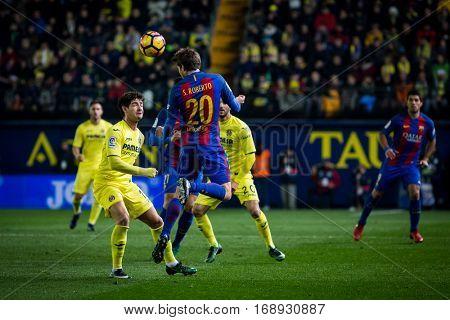 VILLARREAL, SPAIN - JANUARY 8: 20 Sergio Roberto during La Liga soccer match between Villarreal CF and FC Barcelona at Estadio de la Ceramica on January 8, 2016 in Villarreal, Spain