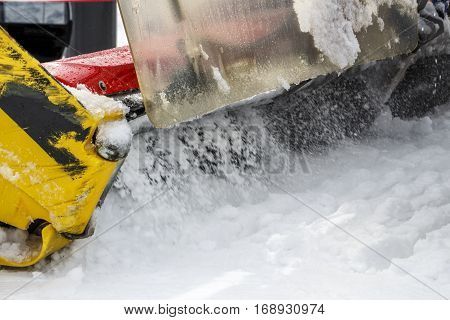 Snowplow clears tracks at Penkenjoch in the ski region of the Hintertuxer Glacier (Tuxer Ferner) in Tyrol Austria