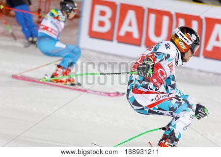 STOCKHOLM SWEDEN - JAN 31 2017: Michael Matt (AUT) and competitor downhill skiing in the parallel slalom alpine event Audi FIS Ski World Cup. January 31 2017 Stockholm Sweden