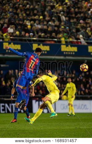 VILLARREAL, SPAIN - JANUARY 8: 11 Neymar during La Liga soccer match between Villarreal CF and FC Barcelona at Estadio de la Ceramica on January 8, 2016 in Villarreal, Spain