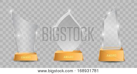 Trophy glass awards vector illustration. Crystal trophys