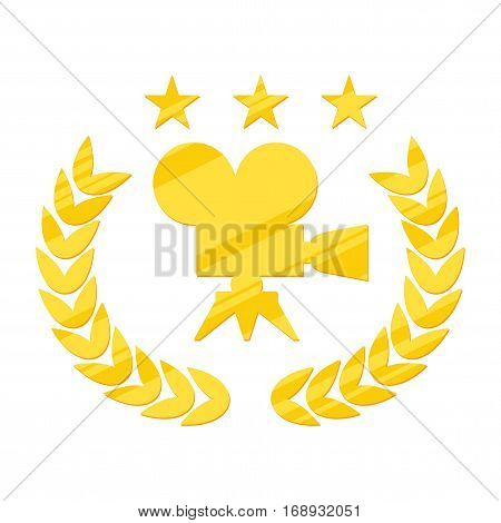 Film Award for the best film in the form of logo with camera and laurel branch. Movie Theater Cinematic Award Movie Premiere. Flat vector cartoon illustration. Objects isolated on white background.
