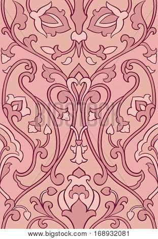 Pink floral pattern. Seamless filigree ornament. Stylized template for wallpaper textile shawl carpet and any surface. Color background with birds and flower.
