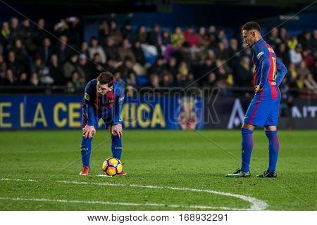 VILLARREAL, SPAIN - JANUARY 8: Messi (L) and Neymar during La Liga soccer match between Villarreal CF and FC Barcelona at Estadio de la Ceramica on January 8, 2016 in Villarreal, Spain