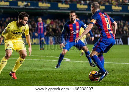 VILLARREAL, SPAIN - JANUARY 8: Iniesta with ball during La Liga soccer match between Villarreal CF and FC Barcelona at Estadio de la Ceramica on January 8, 2016 in Villarreal, Spain