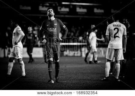 VILLARREAL, SPAIN - JANUARY 8: 3 Pique during La Liga soccer match between Villarreal CF and FC Barcelona at Estadio de la Ceramica on January 8, 2016 in Villarreal, Spain