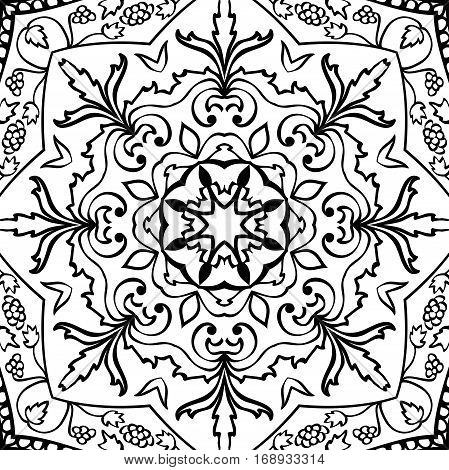 Oriental filigree pattern. Vector black and white background. Template for textile carpet shawl.