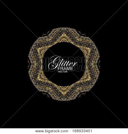 Luxury festive ornament with shiny silver and golden glitters. Vector illustration. Vintage glittering frame. Jewelery pattern. Holiday paillettes decoration
