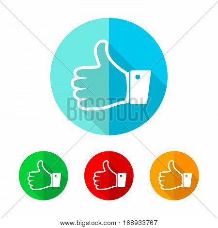Set of colored thumb up icons. White thumb up with long shadow. Vector illustration. Thumb up sign on a the round button.