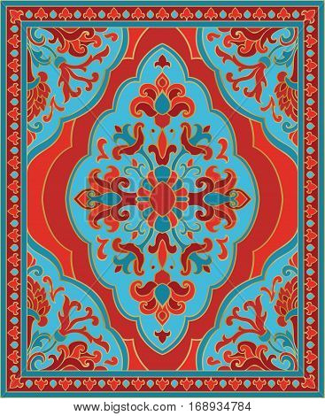 Oriental abstract ornament. Red and turquoise template for carpet coverlet shawl textile and any surface. Ornamental pattern with filigree details.
