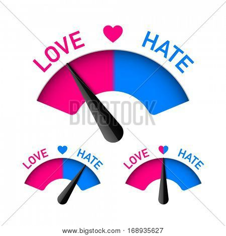 Love and Hate meter, Valentines Day design element, vector illustration