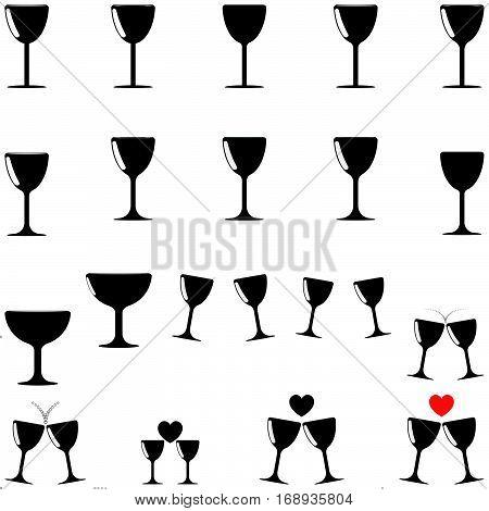 Black beaker different shapes - set icons.