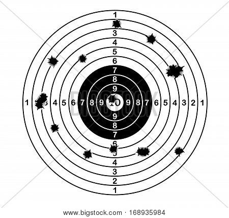 Shooting range target shot of bullet holes. vector illustration