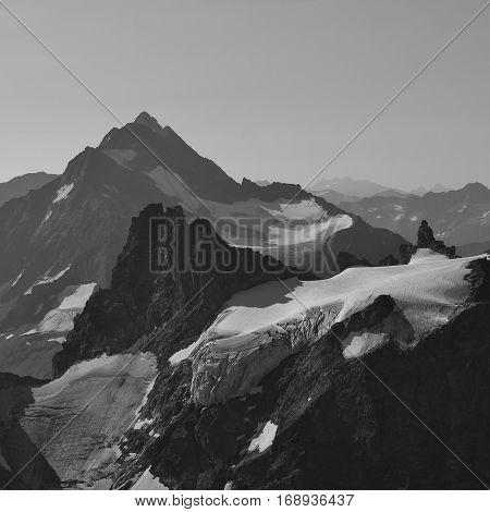Mount Stucklistock and Fleckistock. Glacier. View from mount Titlis popular travel destination in Switzerland.