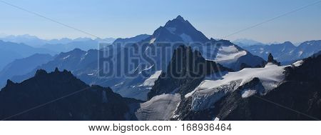 Glacier and mountains Fleckistock Stucklistock and others. Stunning view from mount Titlis Switzerland.
