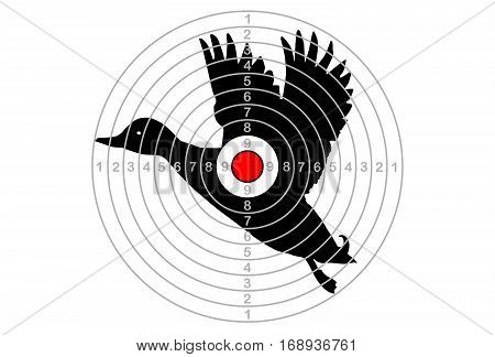 The target shooting with centre of duck, vector