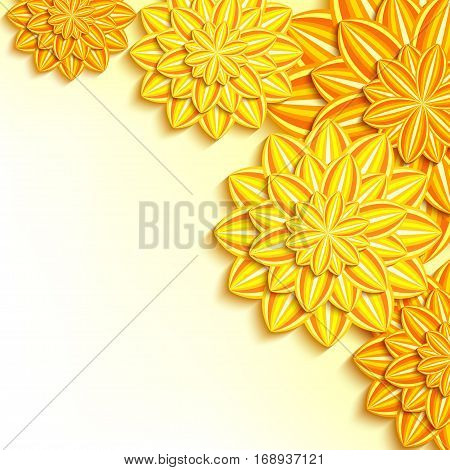 Floral elegant bright background with yellow orange ornate 3d flowers dahlia cutting paper. Beautiful trendy luxurious wallpaper. Stylish greeting or invitation card for wedding birthday and life events. Vector illustration