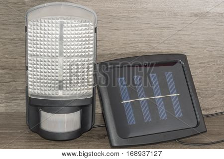 Led lamp with motion sensor, works on a solar panel