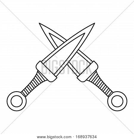 Crossed daggers icon. Outline illustration of crossed daggers vector icon for web