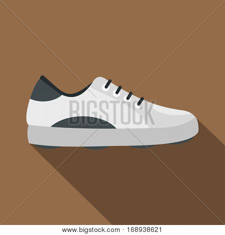 White golf shoe icon. Flat illustration of white golf shoe vector icon for web   on coffee background