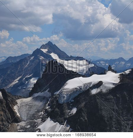 Mount Fleckistock Stucklistock and others. Mountains and glacier seen from mount Titlis travel destination in Switzerland.