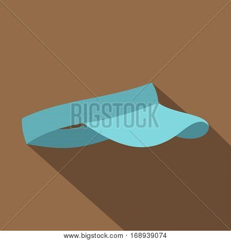 Blue visor icon. Flat illustration of blue visor vector icon for web   on coffee background