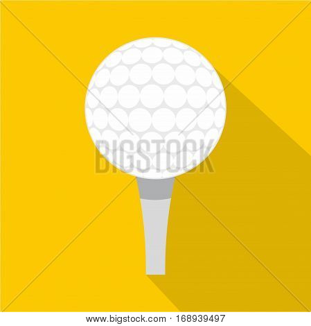 Golf ball with tee icon. Flat illustration of golf ball with tee vector icon for web   on yellow background