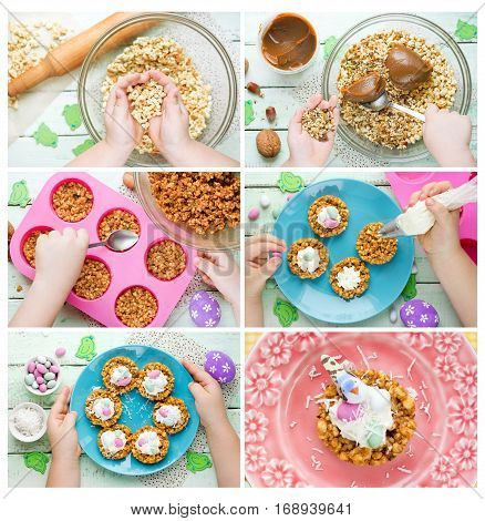 Easter bird nests cookie with candy eggs Easter recipe step by step