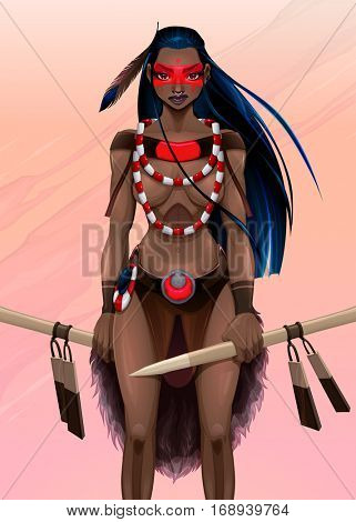 Beautiful amazon warrior. Vector illustration