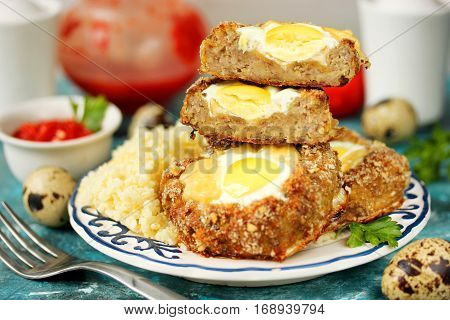 Bird nest Easter recipe - meat nests baked minced meat cutlet stuffed with quail eggs and cheese